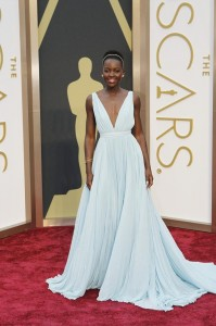 Lupita Nyong'o on the red carpet. Stunning in Prada.