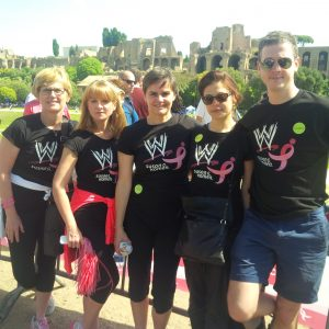 Verellen (middle) with team members at last month's 5K Race for The Cure in Rome