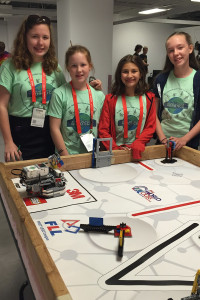 Around The World Robotics team and their mentor Bridget Soderna